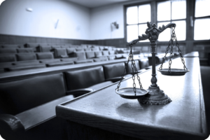 Lawsuit in Courtroom